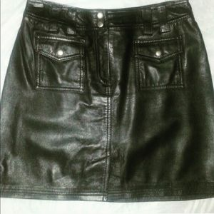 INC International Concepts Skirts - Real leather mini skirt with  two front pockets